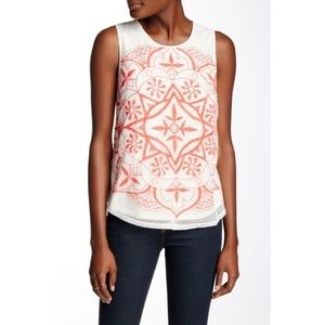 🆕Lucky Brand Embroidered Mesh Front Tank Top